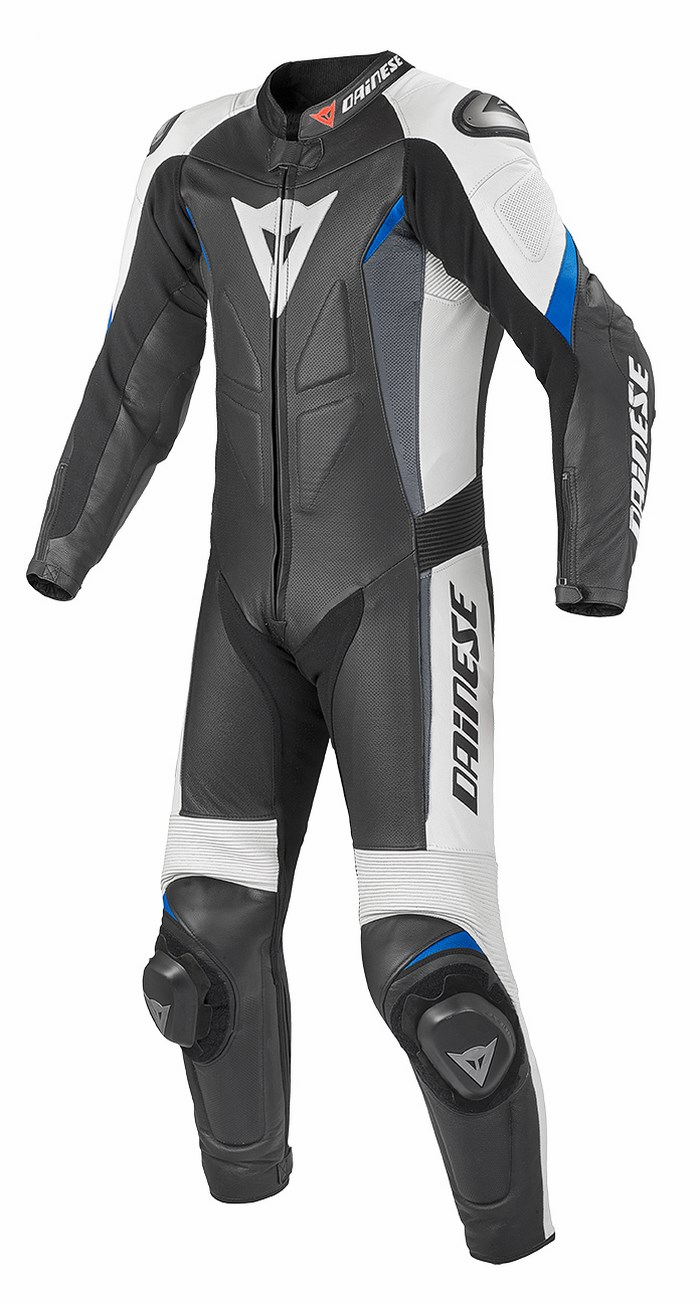 Dainese leather motorcycle suit summer Chrono Black White Blue