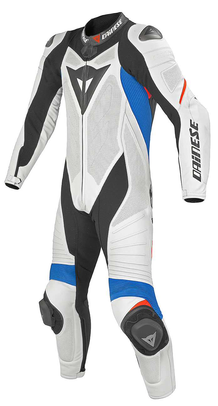 Dainese leather motorcycle suit summer Laguna Seca Evo White Blu
