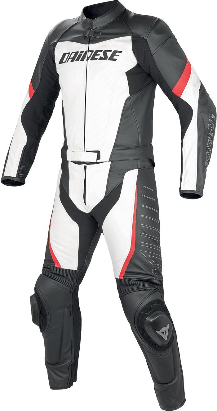 Tuta moto pelle divisibile Dainese Racing Bianco Nero Rosso