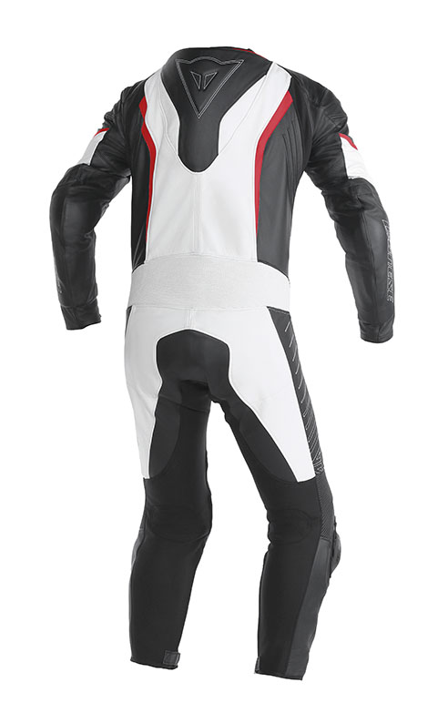Tuta moto pelle Dainese Racing Bianco Nero Rosso