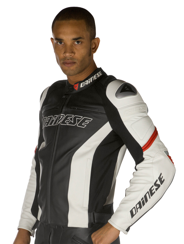 Dainese Racing leather motorcycle jacket black-white-red