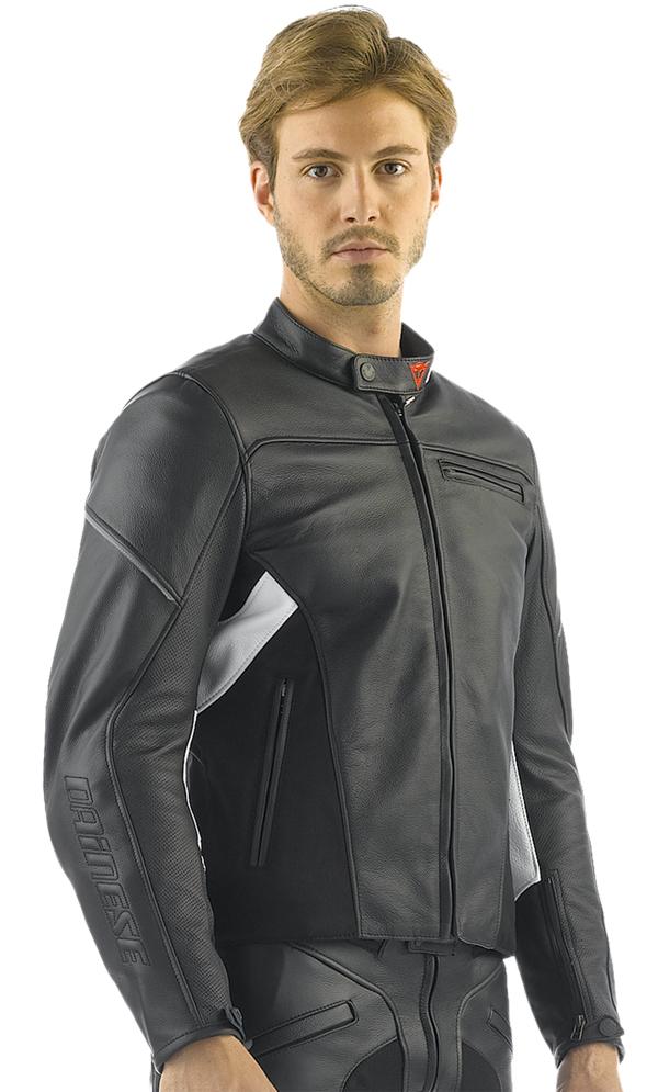 Dainese Cage motorcycle leather jacket black-white