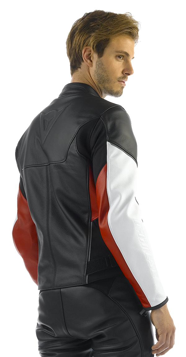 Dainese Cage motorcycle leather jacket black-white-red