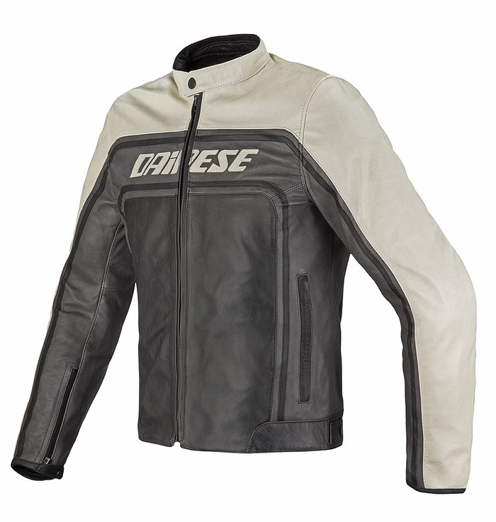 Dainese leather motorcycle jacket Tourage Vintage Black Ice Magn