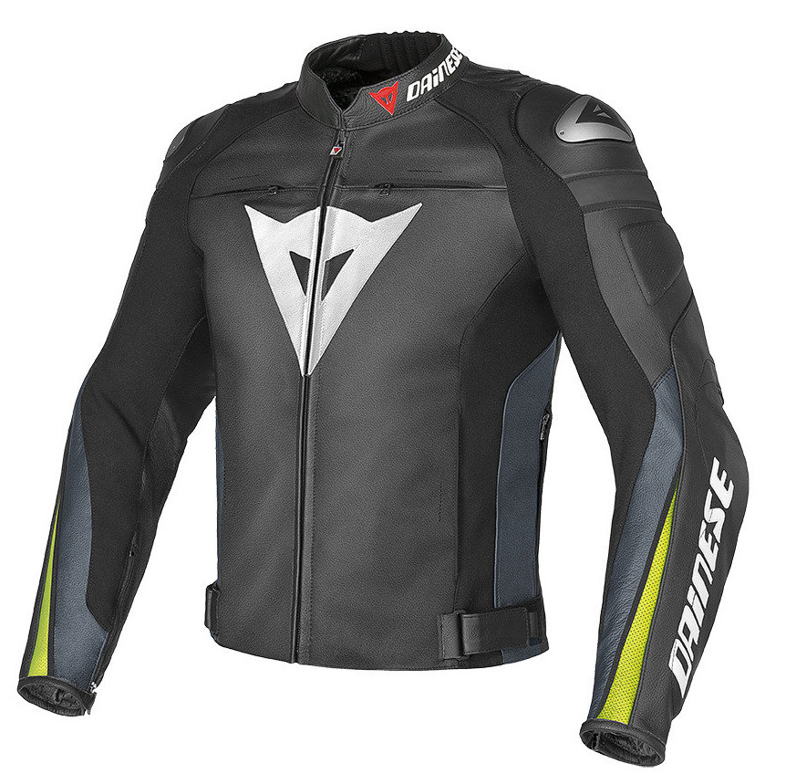Giacca moto pelle Dainese Super Speed C2 Nero Antracite Giallo