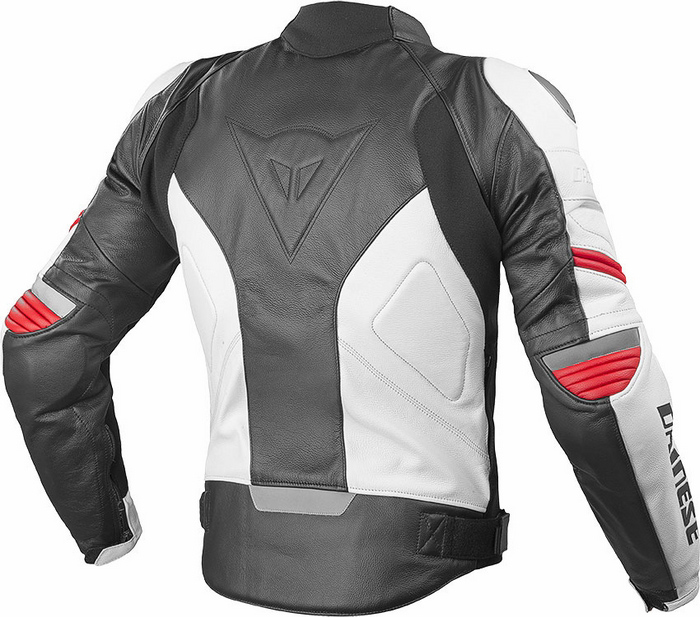 Dainese Racing Leather Motorcycle Jacket Black White Red C2