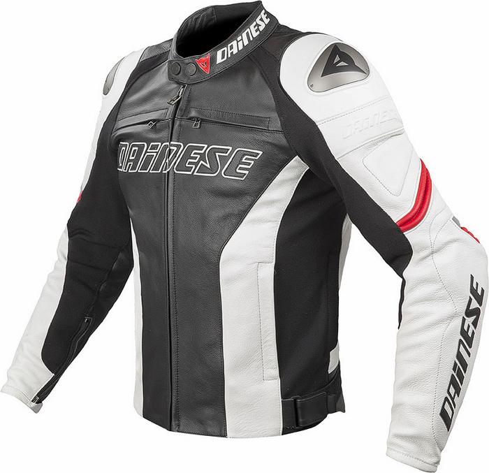Giacca moto pelle estiva Dainese Racing C2 Nero Bianco Rosso