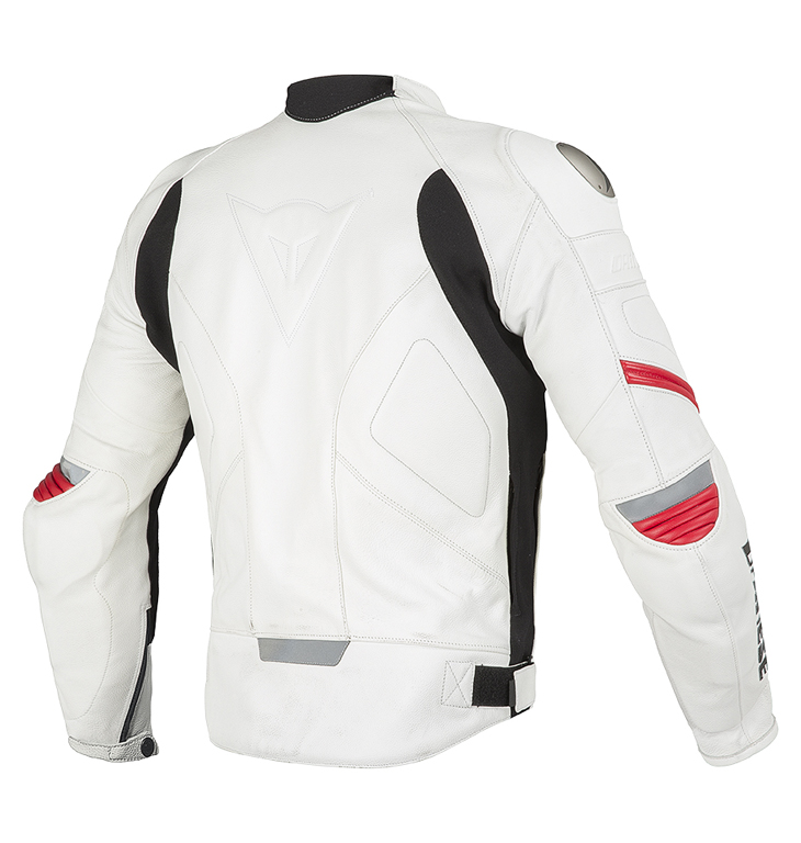 Giacca moto pelle Dainese Racing C2 Bianco Bianco Rosso