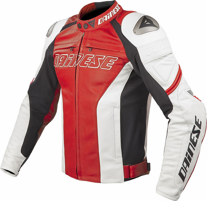 Dainese Racing Leather Motorcycle Jacket Red White C2