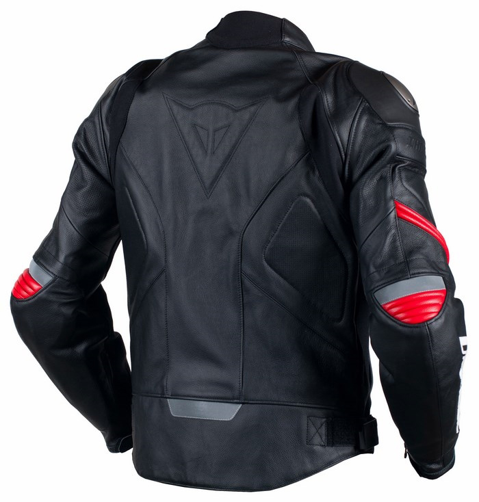 Summer leather motorcycle jacket Dainese Racing C2 Black Red