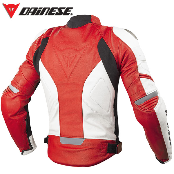 Giacca moto pelle estiva Dainese Racing C2 Bianco Rosso