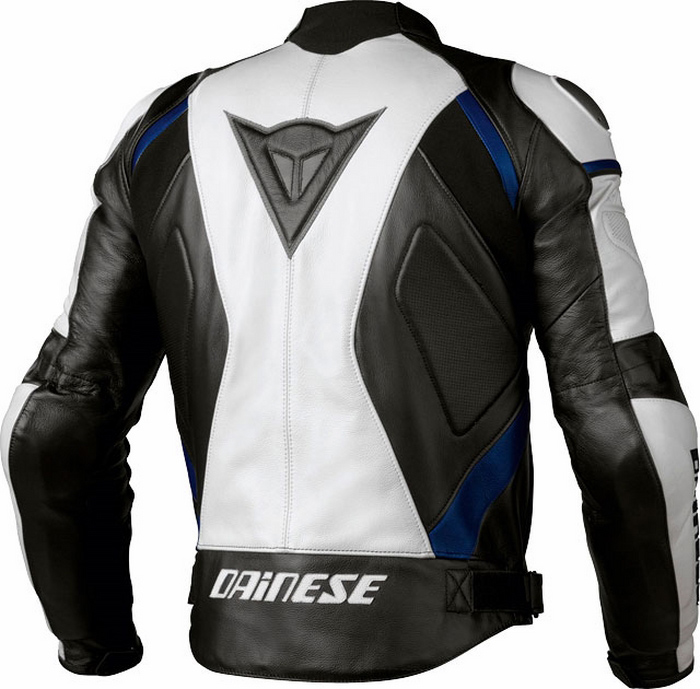Leather motorcycle jacket Dainese Avro C2 Black White Blue