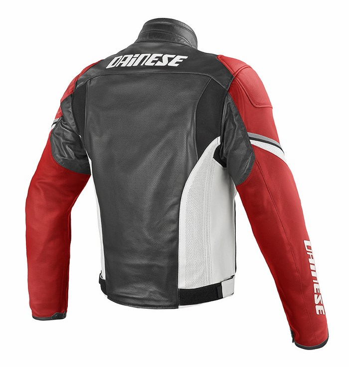 Dainese leather motorcycle jacket summer Airfast Black Red White