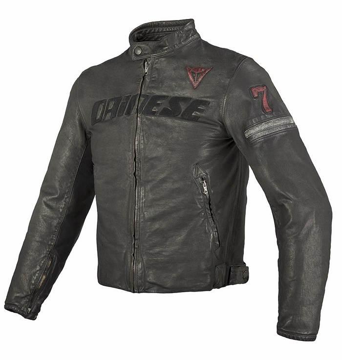 Dainese leather motorcycle jacket Black Seven Archive