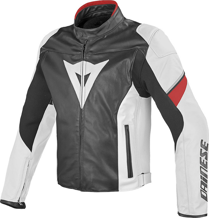 Dainese leather motorcycle jacket Airfast Black White Red