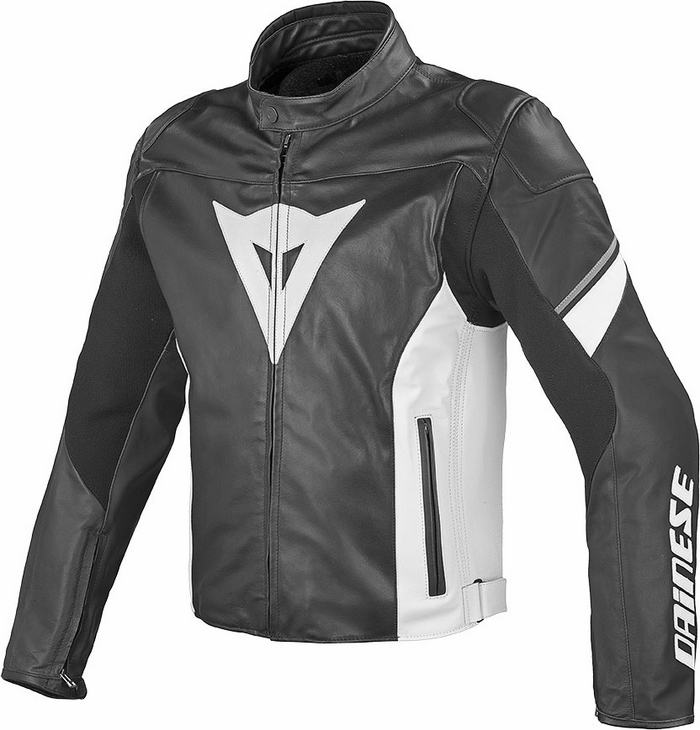 Dainese leather motorcycle jacket Airfast Black White