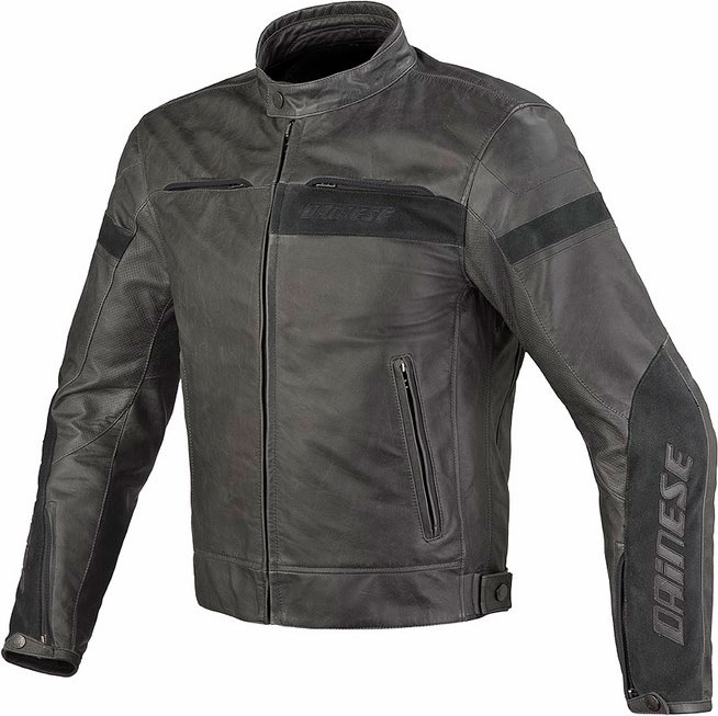 Dainese Stripes Evo leather jacket Black