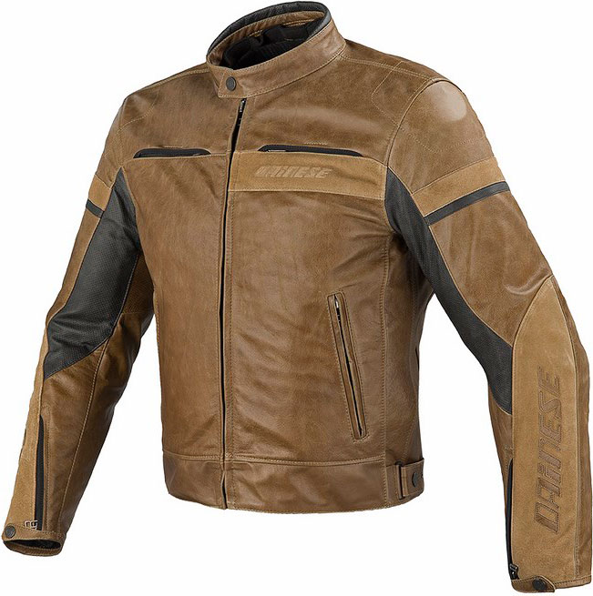 Dainese Stripes Evo leather jacket tabacco