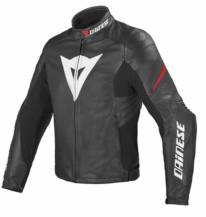 Leather motorcycle jacket Dainese Laguna Evo Black Red