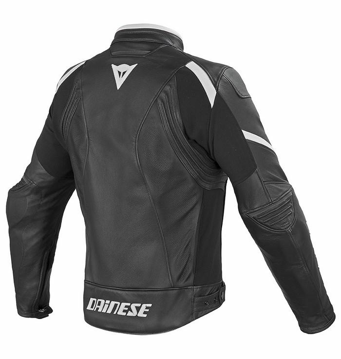 Summer leather motorcycle jacket Dainese Laguna Evo Black White