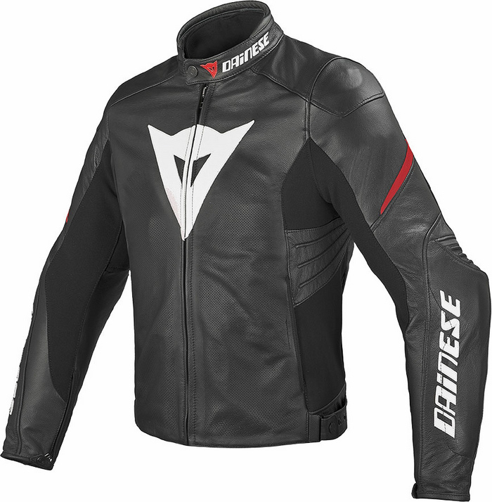 Summer leather motorcycle jacket Dainese Laguna Evo Black Red