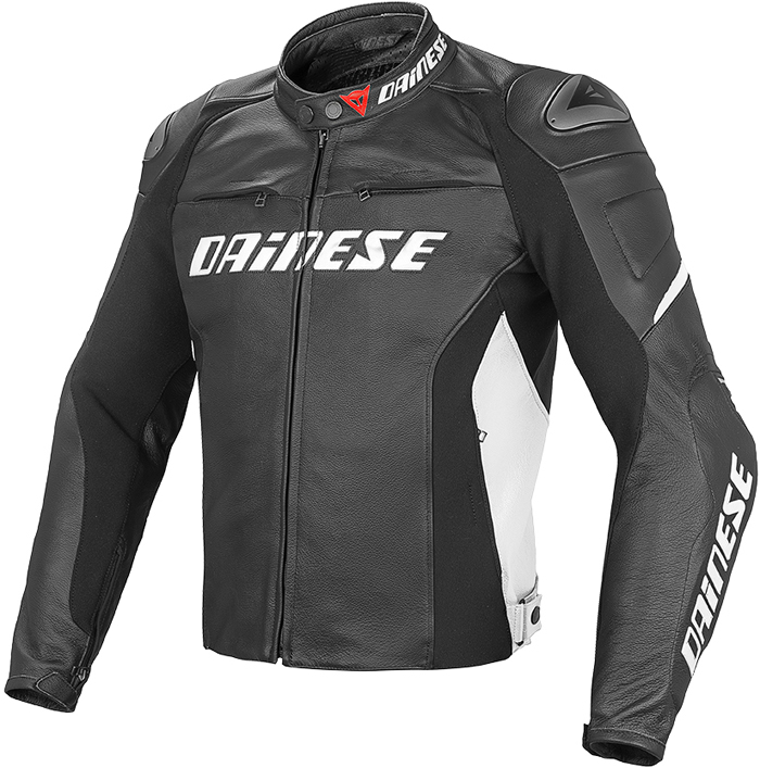 Dainese Racing D1 leather jacket Black White