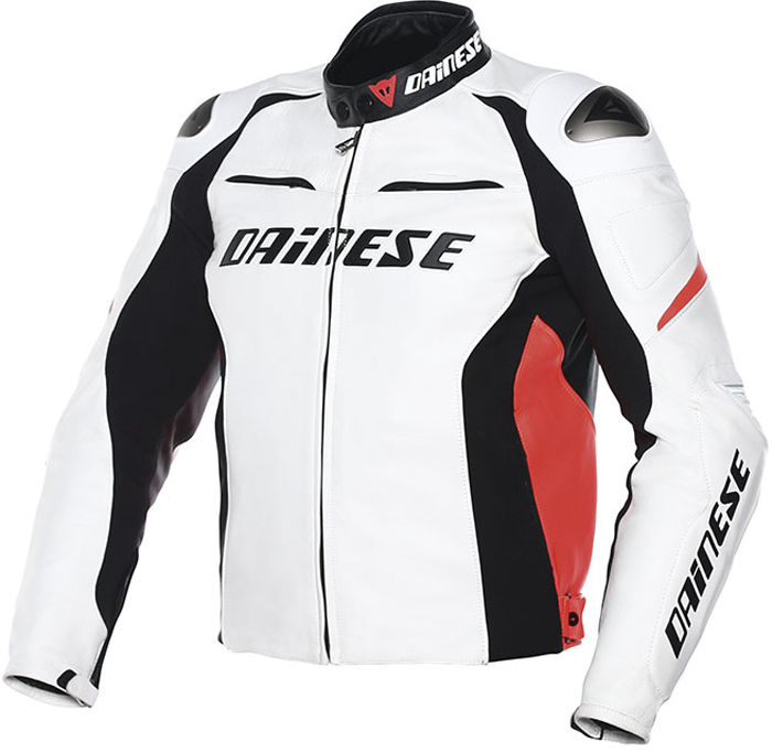 Dainese Racing D1 leather jacket White Black Red