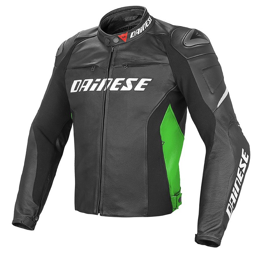 Giacca moto pelle Dainese Racing D1 Nero Verde Bianco