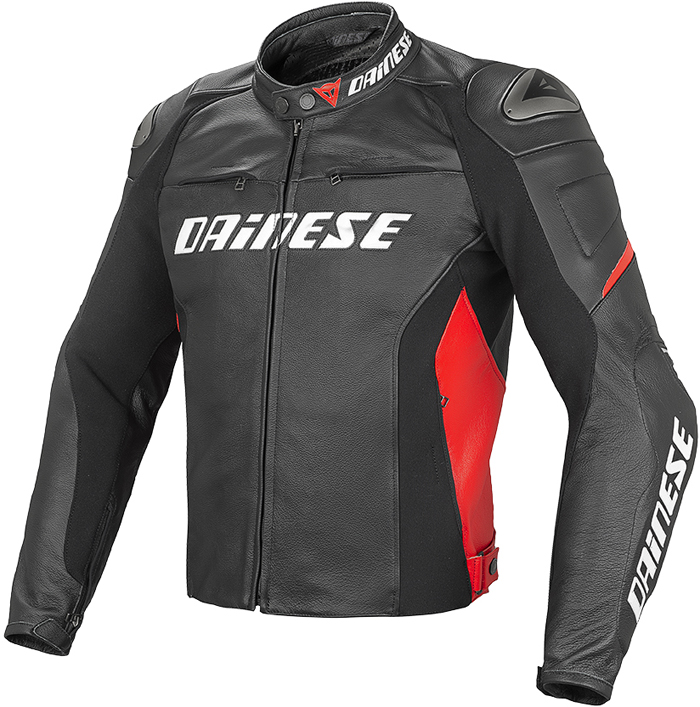 Giacca moto pelle estiva Dainese Racing D1 Nero Rosso