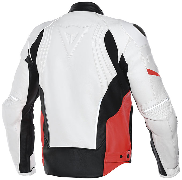 Giacca moto pelle estiva Dainese Racing D1 Bianco Nero Rosso