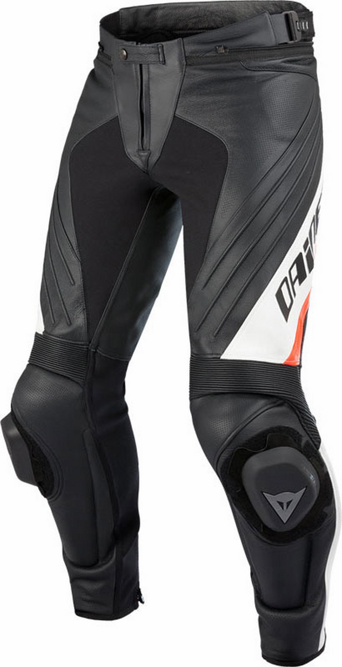 Leather motorcycle pants Dainese Delta Pro Evo C2 Black White