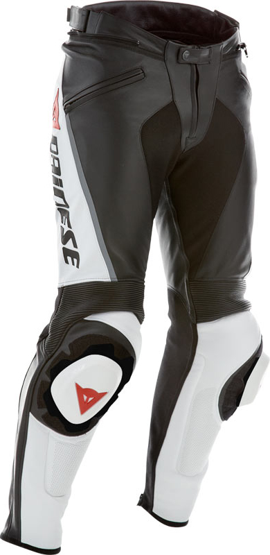 Dainese leather motorcycle pants summer Delta Pro C2 Black White