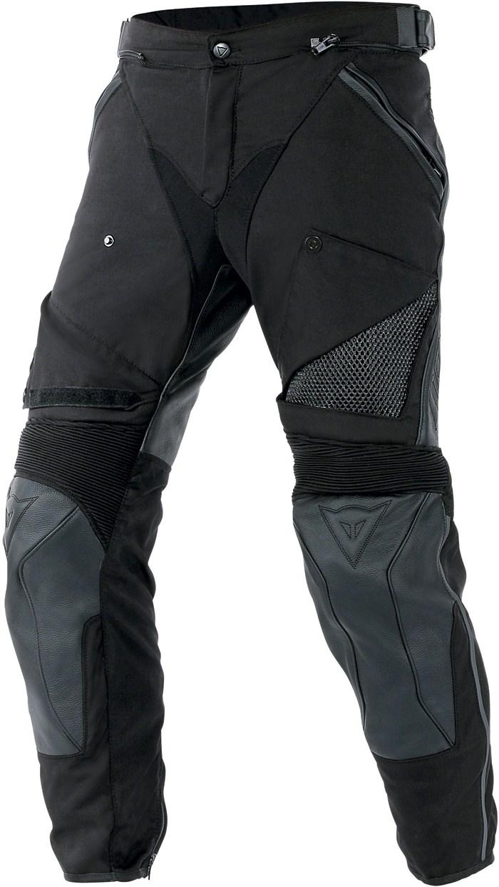 Pantaloni moto pelle tessuto Dainese Horizon Nero