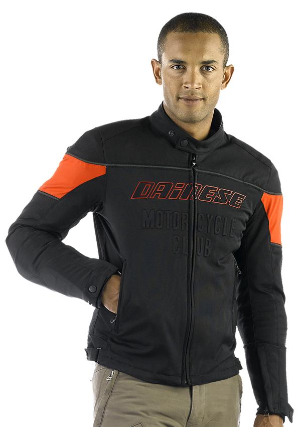 Dainese Federico Tex motorcycle jacket black-red