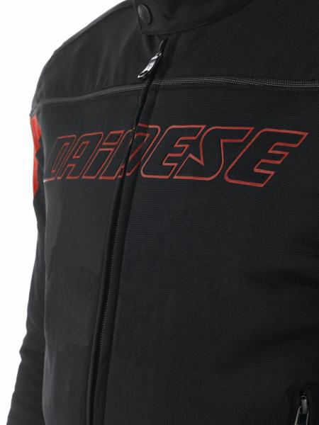 Dainese Federico Tex motorcycle jacket black-red