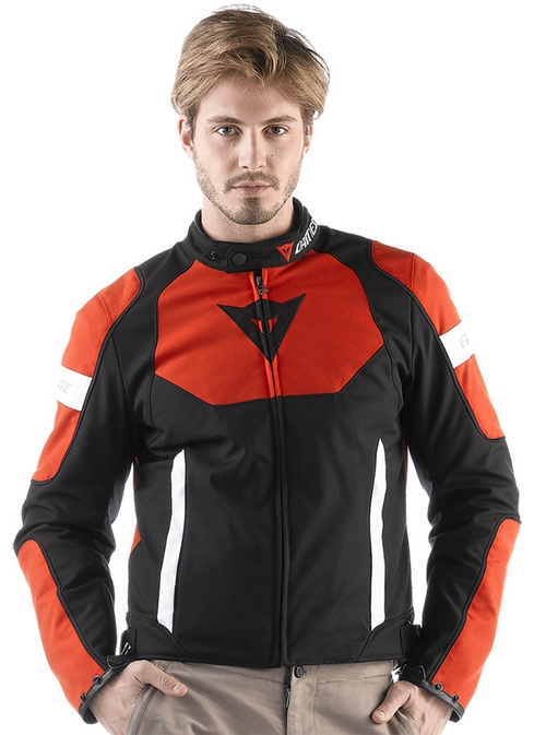 Dainese Avro Tex motorcycle jacket black-red-white