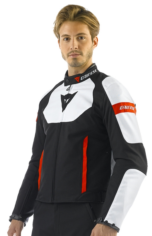 Dainese Avro Tex motorcycle jacket black-white-red