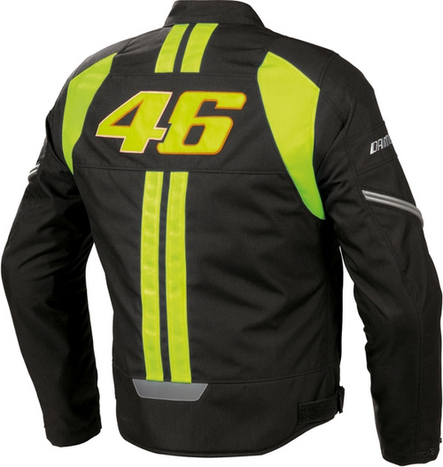 Dainese VR46 Tex motorcycle jacket black-yellow