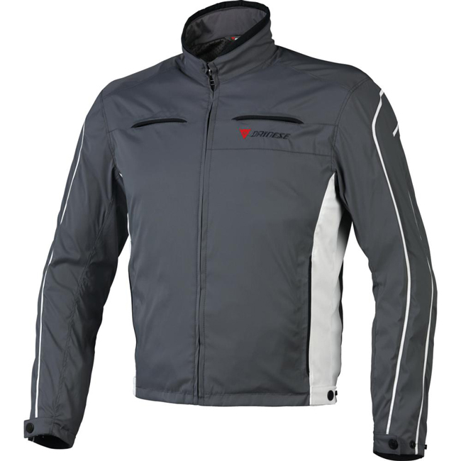 Dainese Tron 2 Tex motorcycle jacket dark gull gray barely blue