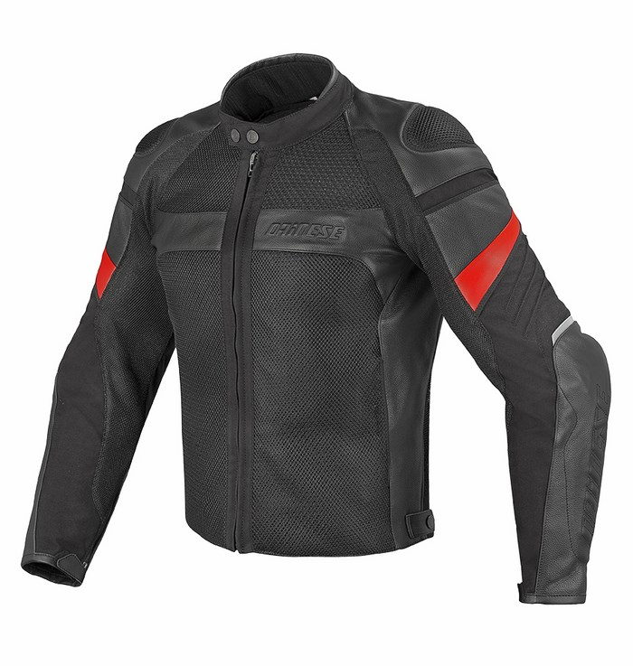 Motorcycle jacket Dainese Air Frazer leather and fabric Black