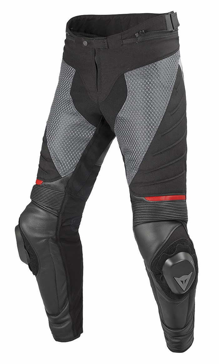 Pants Dainese Air Frazer leather and fabric Black Anthracite