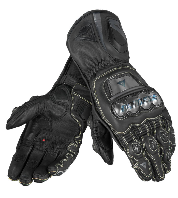 Leather Motorcycle Gloves Dainese Full Metal RS Black