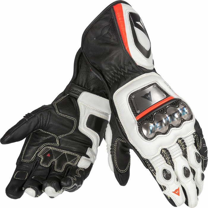 Guanti moto pelle Dainese Pro Metal RS Nero Bianco Rosso