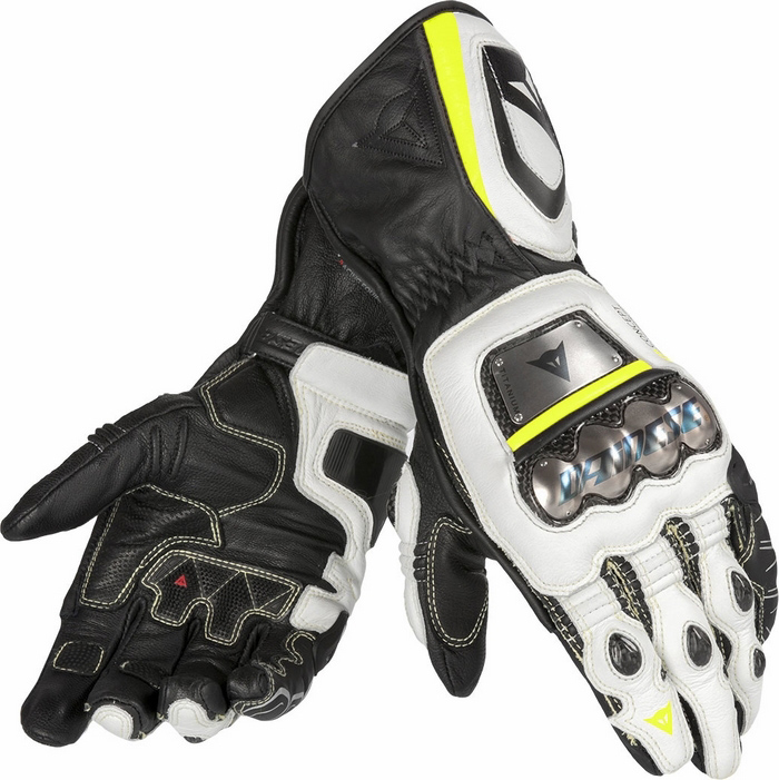 Leather Motorcycle Gloves Dainese Pro Metal RS Black White Yello