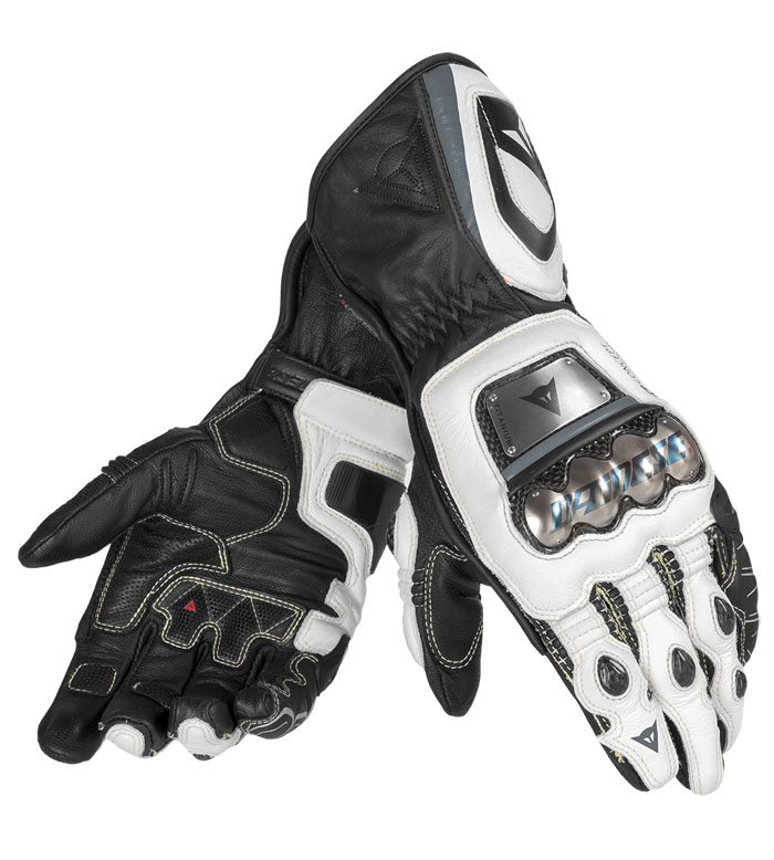 Leather Motorcycle Gloves Dainese Full Metal RS Black White Anth