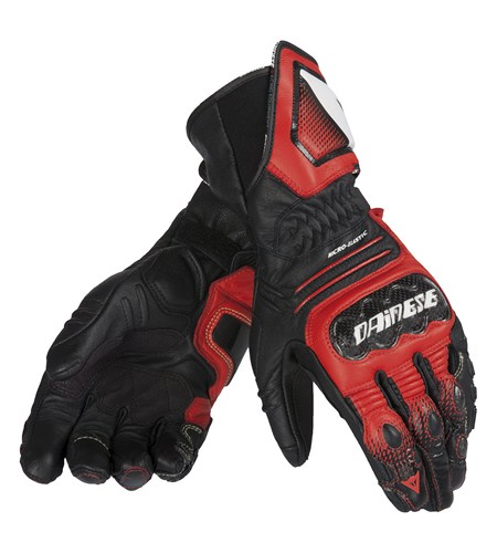 Dainese Carbon Cover ST leather gloves black-red-white
