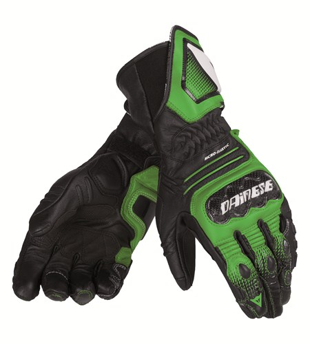 Dainese Carbon Cover ST leather gloves black-green white