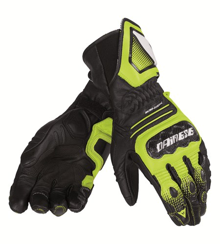 Dainese Carbon Cover ST leather gloves black-yellow-white