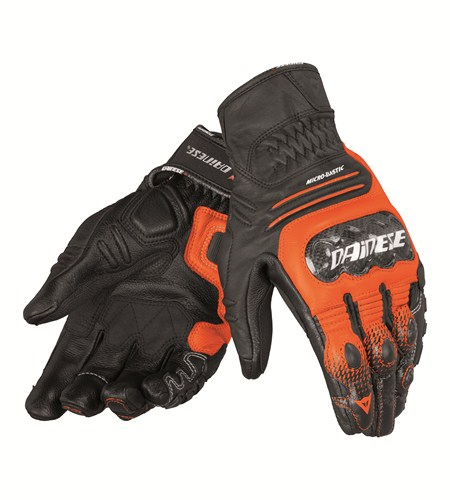 Dainese Carbon Cover S-ST leather gloves black-orange-white