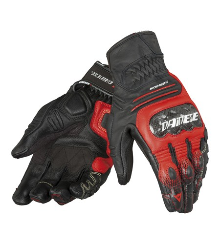 Dainese Carbon Cover S-ST leather gloves black-red-white